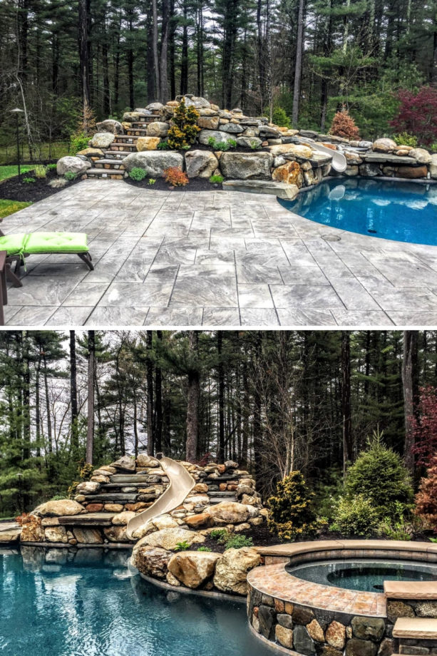 a freeform pool with natural stone hot tub and stamped concrete around