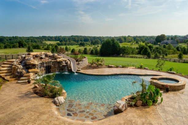 a rustic backyard featuring a custom-shaped pool and stamped concrete around