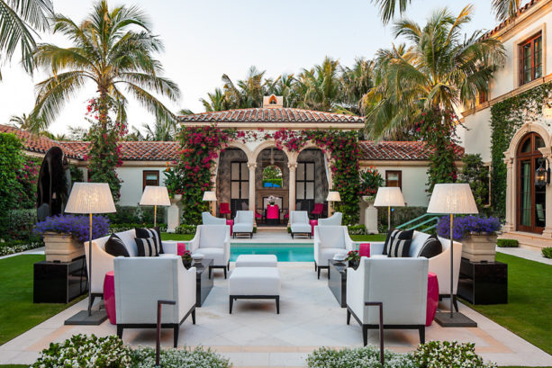 bright and colorful courtyard in an elegant spanish style home