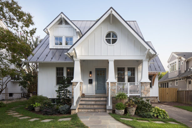 color combination of gray metal roof in a craftsman exterior of a white bungalow