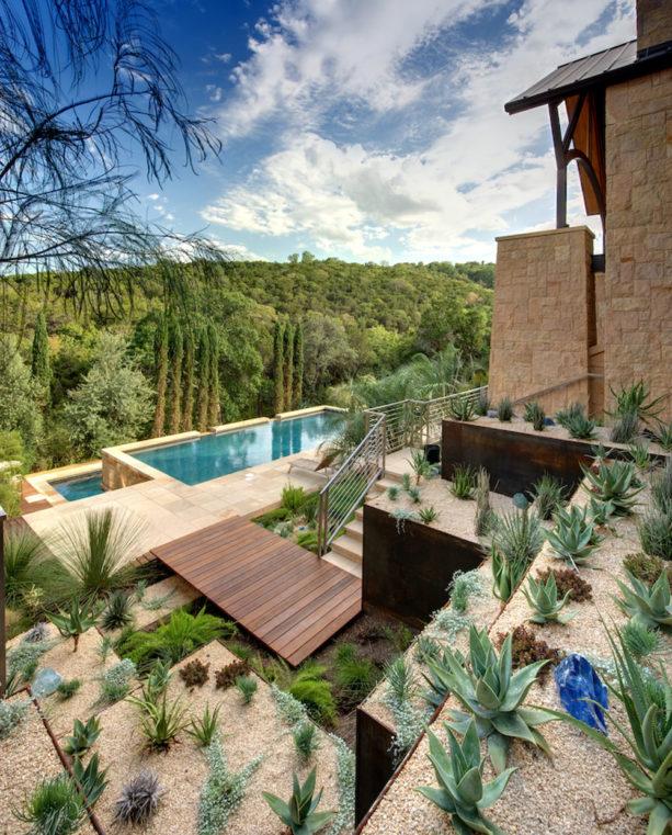 combination of concrete paver and gravel in a desert landscape backyard idea