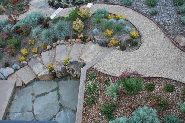 slope desert backyard with gravel desert landscape idea