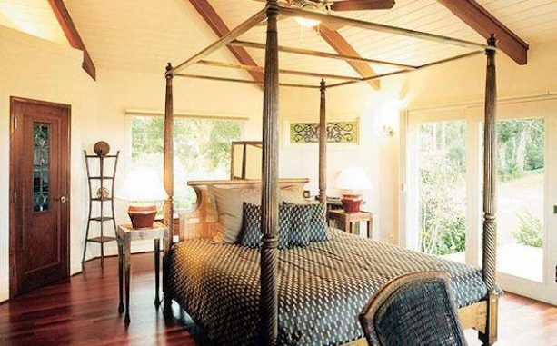 canopy bed in the middle of a tropical room