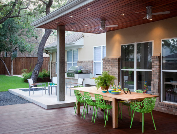 casual dining area under a tigerwood deck ceiling