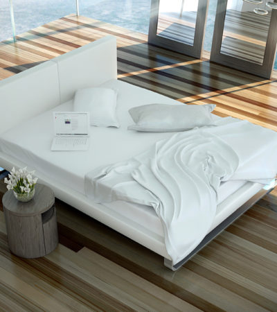 classic platform bed in the middle of a modern room
