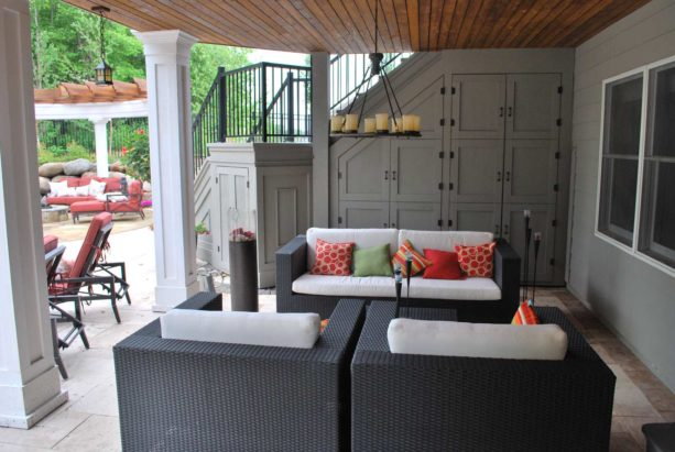 contemporary patio idea under deck with wooden ceiling