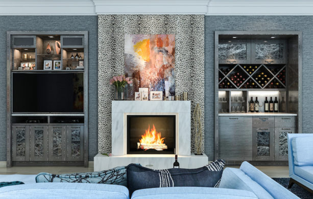 eclectic style fireplace featuring a bar and entertainment area as wall unit