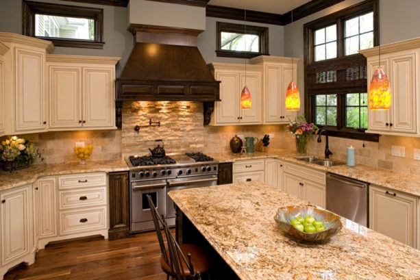 natural stacked stone backsplash behind stove only in a traditional kitchen