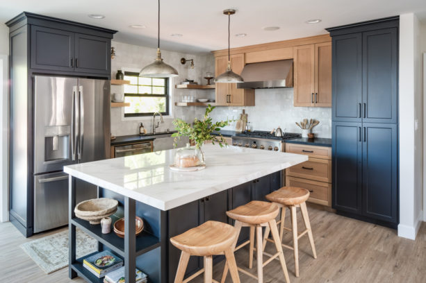 the combination of blue gray and natural stain white oak kitchen cabinets