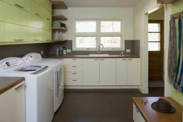 cork and rubber composite tile laundry room floor for a non-slippery surface