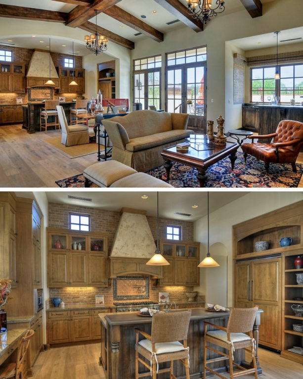 country style kitchen and mountain style living room combo