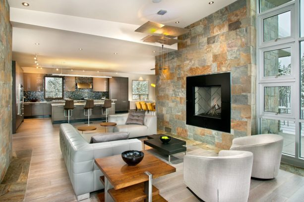 dark grey trendy kitchen and silver contemporary living room combo