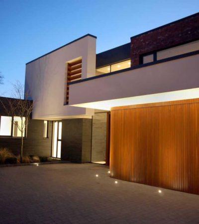 horizontal side sliding garage door illuminated with paving led lights