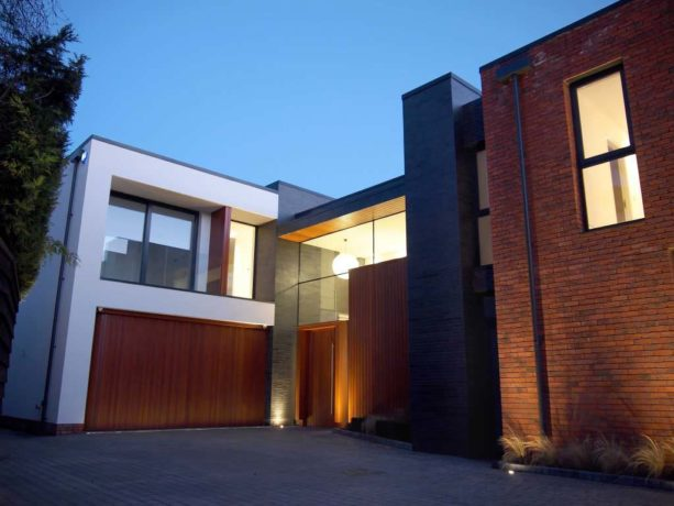 large minimalist garage with side sliding door in modern style
