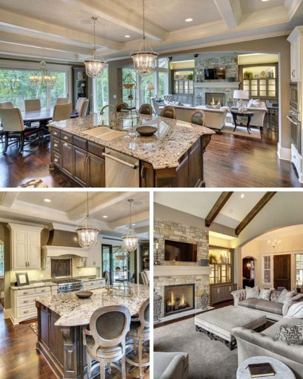 large open transitional kitchen and country style living room combo