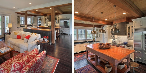modern farmhouse kitchen and bright vintage living room combo