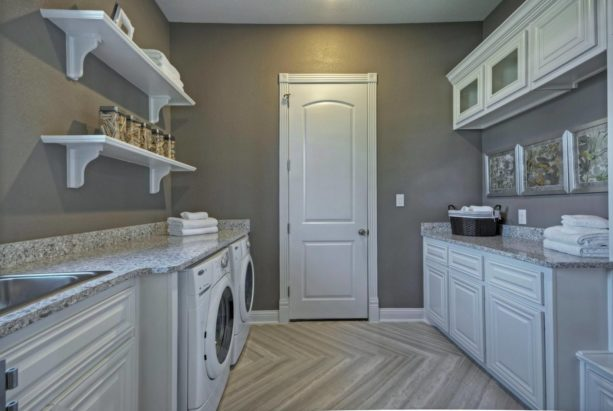 porcelain tile in a contemporary laundry room for a more sturdy flooring
