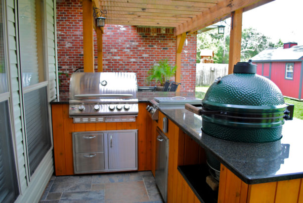 timeless outdoor l-shaped kitchen structured with exposed posts and beams