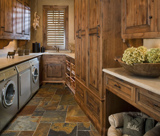 traditional laundry room with slate tile floor for a moisture protection
