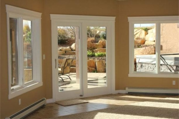 white framed glass walkout basement door option for a traditional look