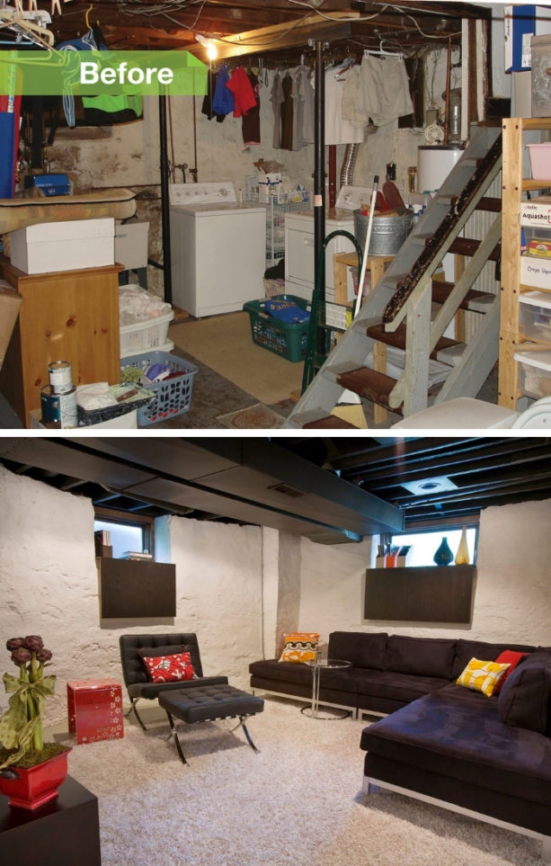 before after pictures of a basement remodeling with fake windows in a stone wall