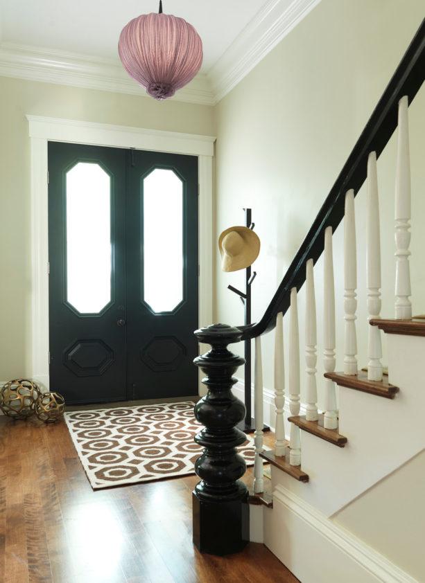 minimalist small entryway foyer with flaming birch flooring
