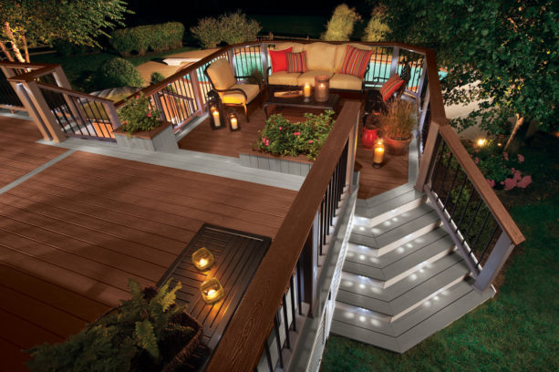 stair riser outdoor lighting in steps leading to the traditional deck