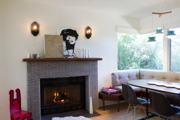 fireplace tile in mid-century modern style with wood mantel