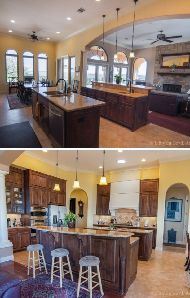two-level kitchen island complementary with brown countertops
