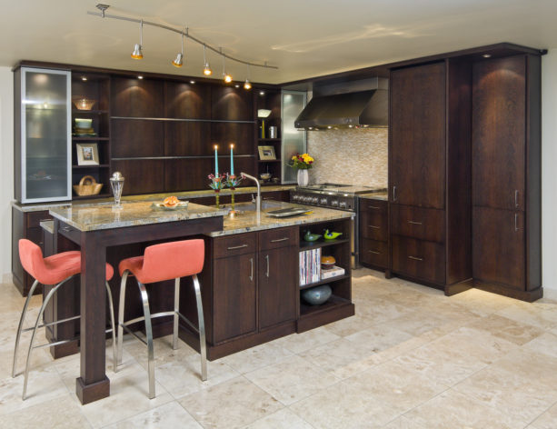 two-level kitchen island with only a small raise to accommodate a pair of stools