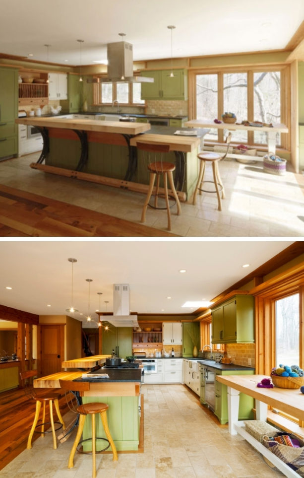 two-level wooden kitchen island painted in green color