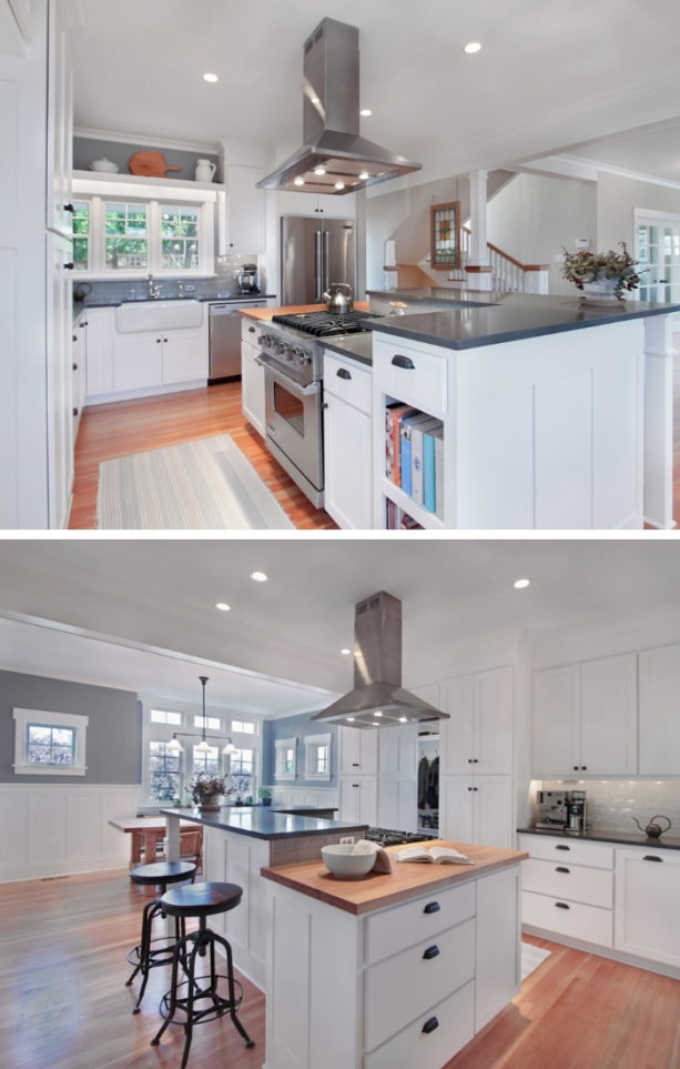 upper l-shaped two-level kitchen island with pental chroma countertops
