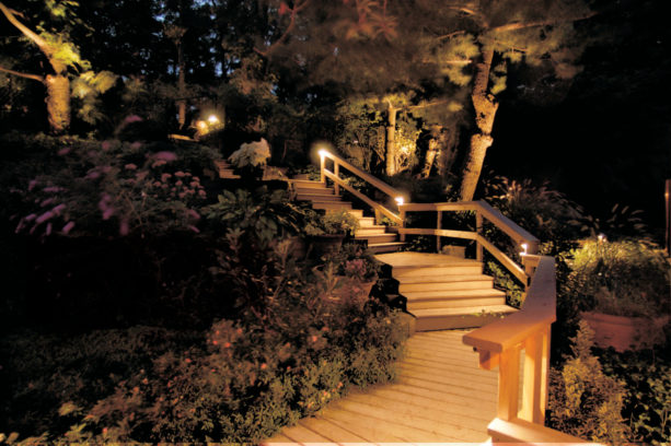 variety of copper fixtures as glorious outdoor stair lighting