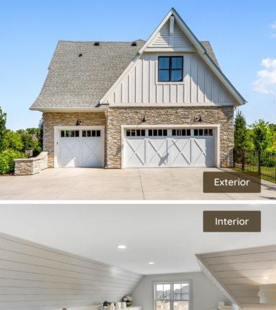 farmhouse garage with a bonus room as a laundry space above